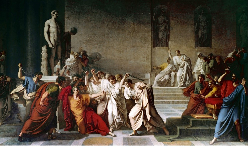 A painting by Vincenzo Camuccini depicting thedeath of Julius Caesar in the Roman Senate. (Photo by Leemage/Corbis via Getty Images)