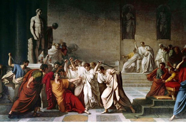 A painting by Vincenzo Camuccini depicting the death of Julius Caesar in the Roman Senate. (Photo by Leemage/Corbis via Getty Images)