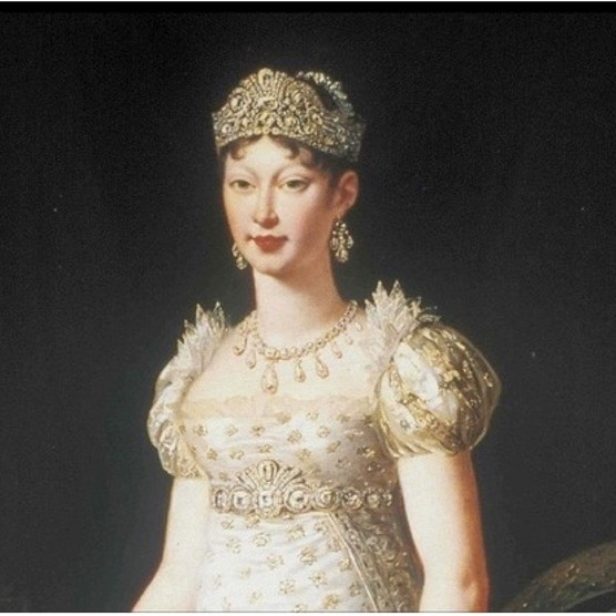 Empress Marie-Louise painted in 1812 by Robert Jacques François Lefèvre. Portrait reproduced by kind permission of the Museo Glauco Lombardi, Parma, Italy.