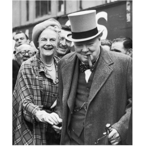 1949: Clementine with her husband, Winston Churchill, at Epsom racecourse for the Derby. (Photo by Central Press/Hulton Archive/Getty Images)