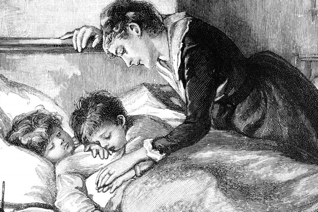 Picture of children being put to bed