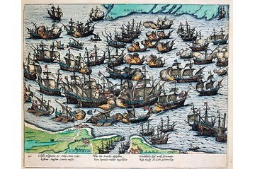 A painting showing the defeat of the Spanish Armada
