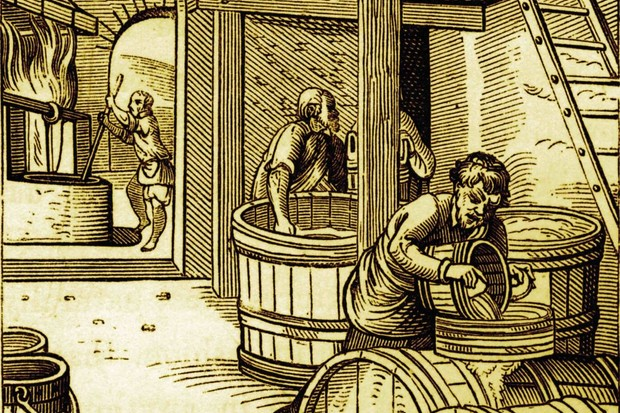 Engraving of a brewery