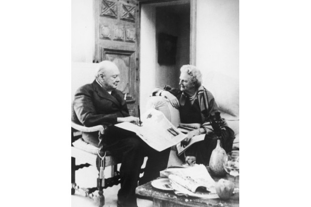 1958: Clementine and Winston Churchill celebrate their Golden Wedding anniversary in France, 12 September. (Photo by Central Press/Hulton Archive/Getty Images)