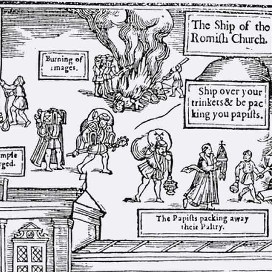 An illustration from the first edition of John Foxe The Book of Martyrs. (Photo by Universal History Archive/Getty Images)