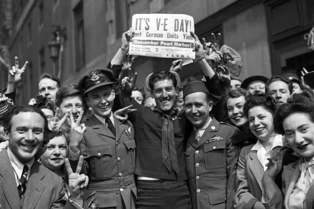 the streets of London on VE Day, 8 May 1945