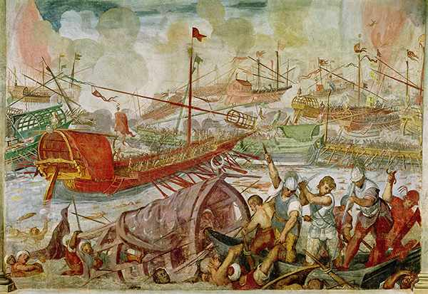 Mural of the battle of Actium from 1600