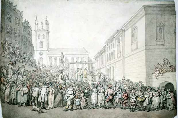 An 18th-century public execution and crowd