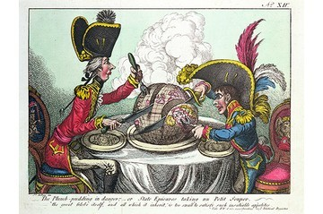 'The Plum Pudding in Danger by James Gillray
