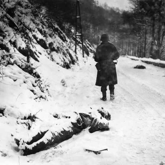 A dead German soldier during the Antwerp offensive