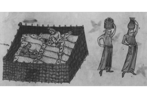 Medieval women carrying jars