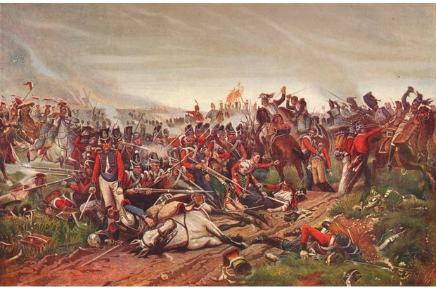 French cuirassiers charging a British infantry square at the battle of Waterloo, 1815 (1906). From Cassell's 'Illustrated History of England, Vol. V' (Cassell and Company Limited, London, Paris, New York, Melbourne). Artist P Jazet. (Photo by The Print Collector/Getty Images)