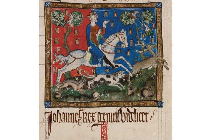 King John hunting on horseback