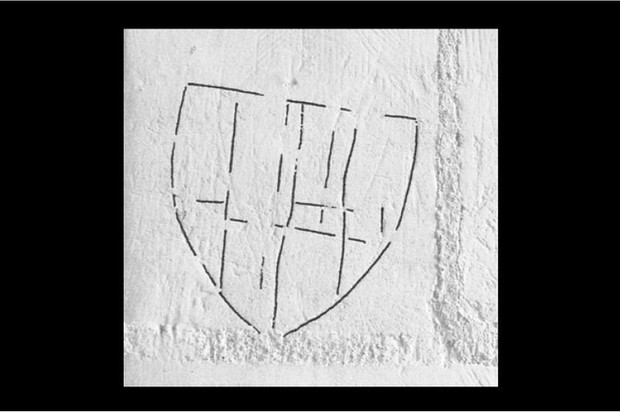 One of a large number of heraldic inscriptions found in a church