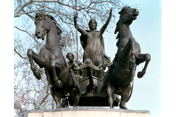 Boudica and her daughters stand aloft in a bronze chariot in this statue located on the Thames embankment in London.