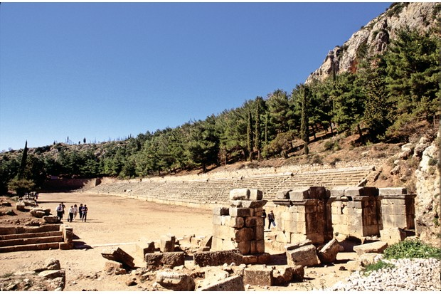 The ruins of a stadium at Delphi, Greece. (Photo by Independent Picture Service/Universal Images Group via Getty Images)