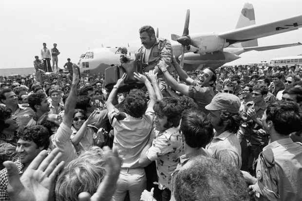 An Israeli pilot after the raid on Entebbe