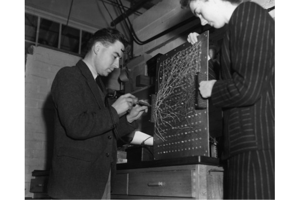 7 November 1946: a utility model of the ENIAC (Electronic Numerical Integrator and Computer) being built at Welwyn Garden City by Dr Andrew Donald Booth. (Keystone/Getty Images)
