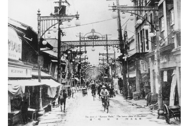 The street of 'Kawaya Machi' or Kawaya-Cho in Hiroshima, circa 1930. (Photo by Keystone/Hulton Archive/Getty Images)
