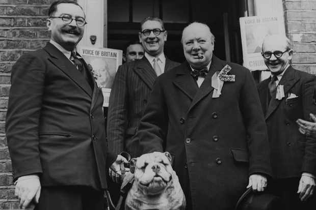 Winston Churchill with a bulldog mascot as he leaves the Wanstead Conservative Club in his Woodford, Essex constituency on general election day, 23 February 1950. (Photo by Central Press/Archive Photos/Getty Images)