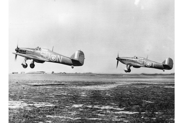 Hurricane fighter planes taking off from Gravesend after being refuelled and rearmed, during the Battle of Britain. (Photo by Central Press/Getty Images)