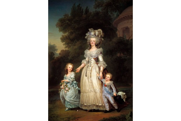 A portrait of Queen Marie Antoinette of France and two of her children walking in the park at Trianon Palace, 1785. Painting by Adolf Ulrich Wertmuller. National Museum, Stockholm, Sweden. (Photo by Leemage/Corbis via Getty Images)