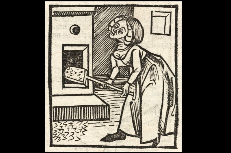 A woodcut of a woman thought to be baking bread, printed in 1497. In the Middle Ages baking was a luxury few were able to enjoy, but those who could afford a wood-burning stove would start with bread. In the 15th century Britain saw explosion of expensive spices, such as saffron, and sweetened dough became popular. (Photo by SSPL/Getty Images)