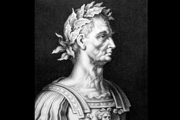 Black and white image depicting engraving of Julius Caesar.