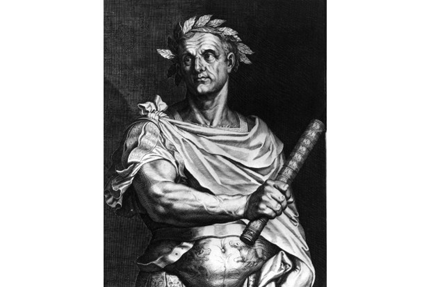 Julius Caesar as dictator of Rome wearing a crown of laurel and holding a symbol of office. (Photo by Hulton Archive/Getty Images)