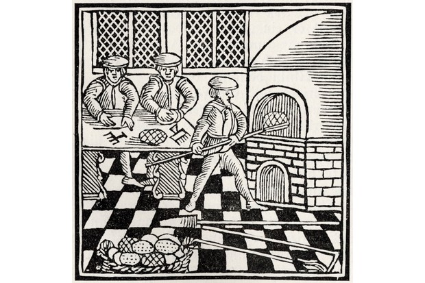 An illustration depicting the preparation of bread for Passover, printed in 1695. (Photo by Culture Club/Getty Images)