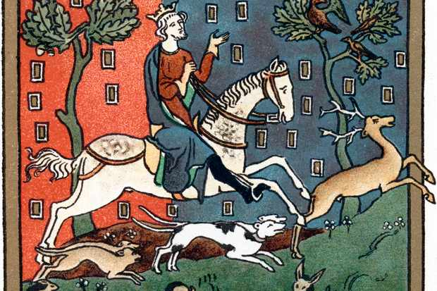 A colourful illustration of King John riding on a horse