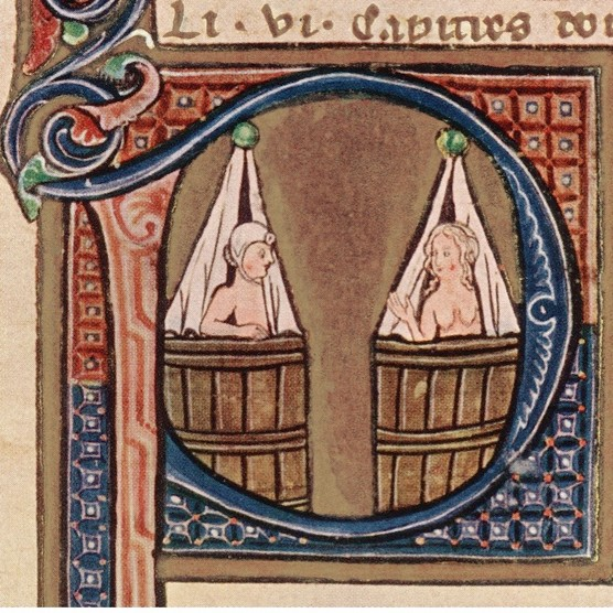 A Franco-Flemish depiction of a couple taking baths in adjoining tubs, c1275. (Photo by Hulton Archive/Getty Images)