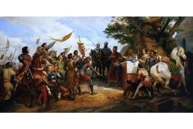 The battle of Bouvines on 27 July 1214. Found in the collection of Musée de l'Histoire de France, Château de Versailles. (Photo by Fine Art Images/Heritage Images/Getty Images)