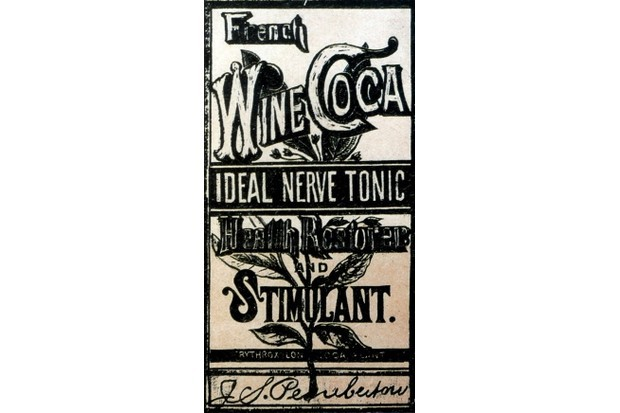 Label of 'French Wine Coca' drink in 1885 made by Pemberton