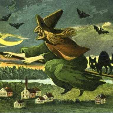 A depiction of a witch on a broomstick. (Photo by Universal History Archive/UIG via Getty Images)