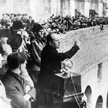 Benito Mussolini makes a speech. (Photo by © CORBIS/Corbis via Getty Images)