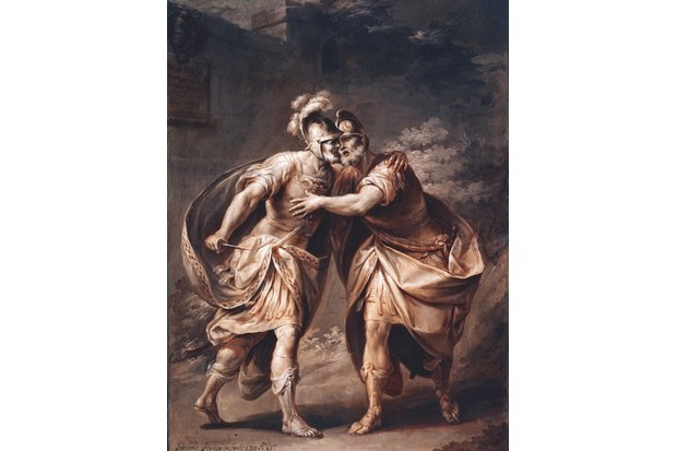 Brutus begs his companion to kill him in a 1756 painting by Giacomo Zampa. Having been decisively defeated in battle by Mark Antony and Octavian – later to rule Rome as emperor Augustus – Brutus felt he had little choice but to commit suicide. (Photo by Alfredo Dagli Orti-Art Resource, NY)
