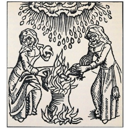 An engraving from Ulrich Molitor's 'On witches and female soothsayers', depicting witches bringing down the rain. Germany, 15th century. (Photo by DeAgostini/Getty Images)