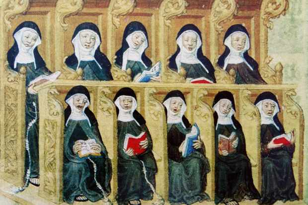 Painting depicting medieval nuns. (Universal History Archive/UIG via Getty Images)