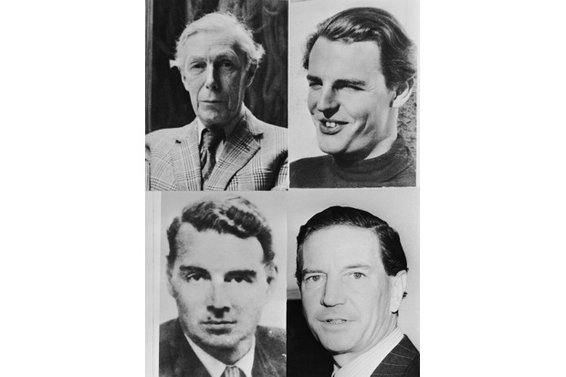 circa 1975: Four members of the 'Cambridge Five', graduates of Trinity College, Cambridge, who passed information from British Intelligence to the Soviet Union in the 1940s and 1950s. Clockwise from top left, Anthony Blunt (1907 - 1983), Donald Duart Maclean (1913 - 1983), Kim Philby (1912 - 1988) and Guy Burgess (1911 - 1963). (Photo by Keystone/Hulton Archive/Getty Images)