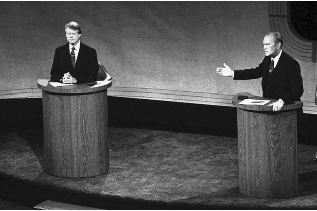 James 'Jimmy' Carter and Gerald Ford taking part in the first televised debate between candidates for the post of president of the United States during the 1976 election. Carter became 39th president. (Photo by Universal History Archive/Getty Images)
