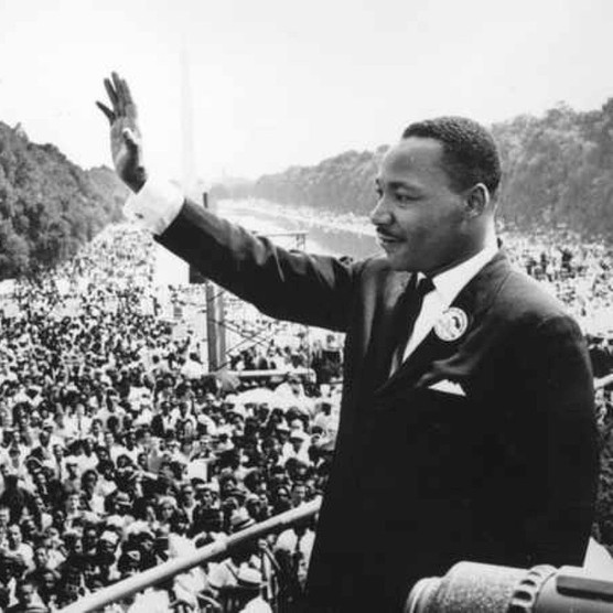 American civil rights leader Martin Luther King in Washington DC, where he delivered his famous 'I Have A Dream' speech to a quarter of a million civil rights supporters in Washington DC in August 1963. (Photo by Central Press/Getty Images)
