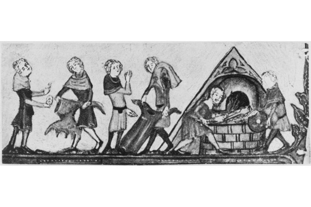 Clothes infected by the Black Death being burnt, c 1340. An illustration from the 'Romance of Alexander' in the Bodleian Library, Oxford. (Photo by Hulton Archive/Getty Images)