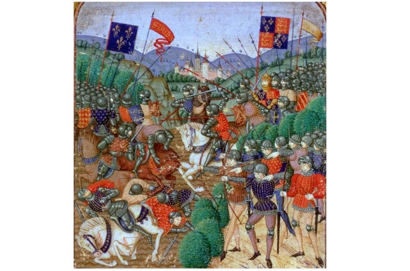 """An illustration of the battle of Agincourt. By attacking over unsuitable ground, Charles d'Albret """"doomed his army"""", says Rupert Matthews. (Photo by Historica Graphica Collection/Heritage Images/Getty Images)"""
