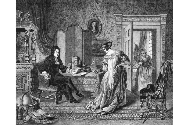 English diarist and civil servant Samuel Pepys admires his wife Elizabeth's new dress