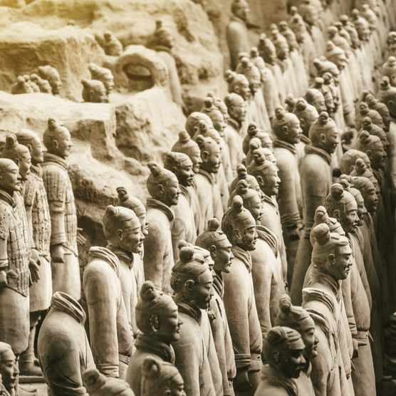 Clay soldier statues of the Chinese Qin dynasty. (Photo by Getty Images)