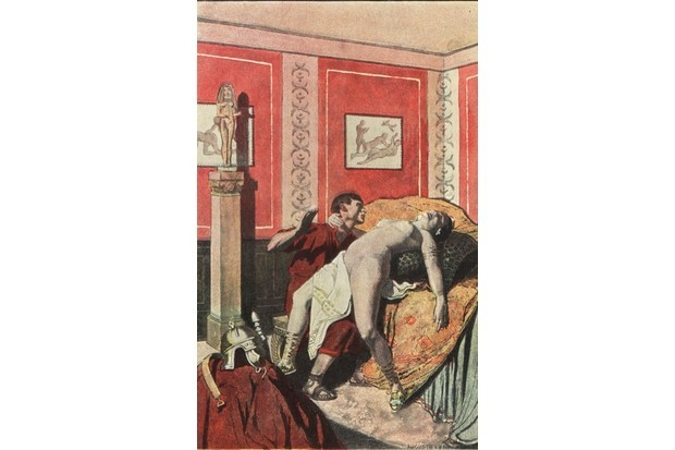 A depiction of Roman empress Messalina naked in the Lupanar brothel with a soldier. Walls decorated with erotic paintings and statues. Colour printed illustration by Auguste Leroux from Felicien Champsaur's novel L'Orgie Latine (Roman Orgy), Fasquelle, Paris, 1903. (Photo by Florilegius/SSPL/Getty Images)