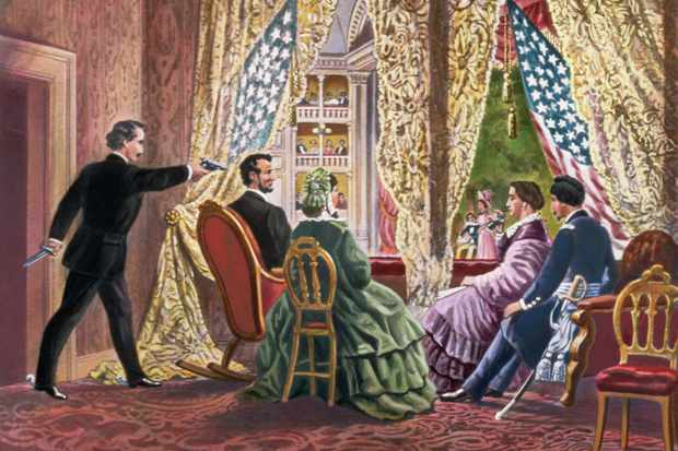 John Wilkes Booth leans forward to shoot President Abraham Lincoln as he watches a play at Ford's Theater in Washington, D.C, in 1865.