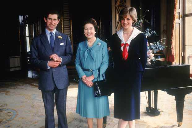 Prince Charles, Lady Diana Spencer and Queen Elizabeth II at Buckingham Palace
