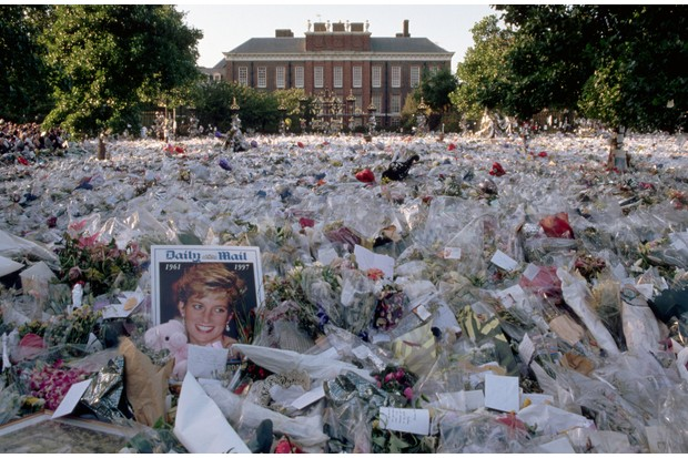 A sea of floral tributes to Diana, Princess of Wales, outside the gates of her London home. (Photo by Liba Taylor/CORBIS/Corbis via Getty Images)